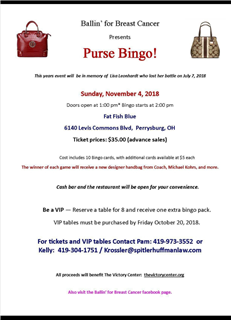 Ballin'for Breast Cancer Presents PURSE BINGO!